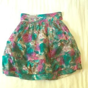 High waist floral water color skirt